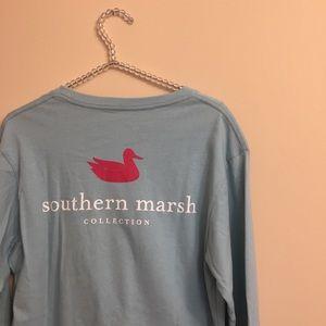 Southern Marsh Teal Preppy Long Sleeve T-Shirt NWT